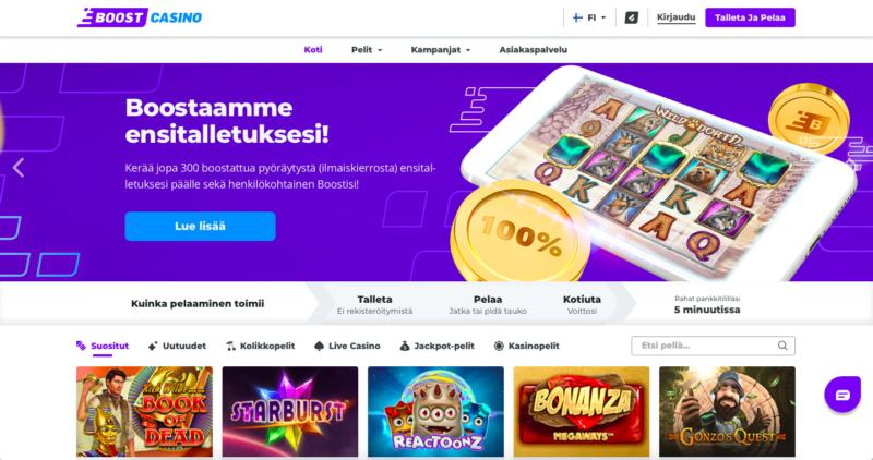 Boost Casinolla ilmaiskierrokset on boostattu uusille pelaajille (1€ arvoisia).