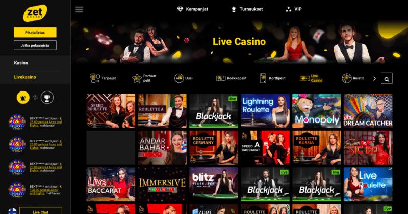 Zet Casino pelit